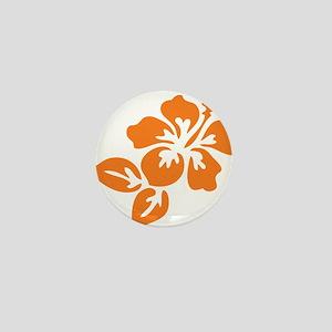 Orange Hibiscus Tropical Hawaii Flower Mini Button