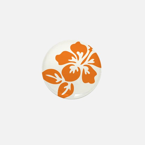 Orange Hibiscus Tropical Hawaii Flower Mini Button