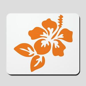 Orange Hibiscus Tropical Hawaii Flower Mousepad