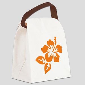 Orange Hibiscus Tropical Hawaii F Canvas Lunch Bag