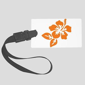 Orange Hibiscus Tropical Hawaii Large Luggage Tag