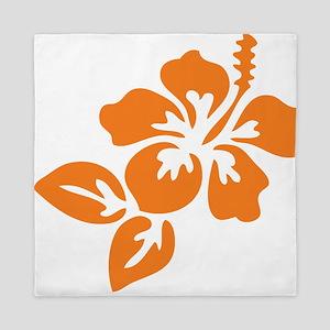 Orange Hibiscus Tropical Hawaii Flower Queen Duvet