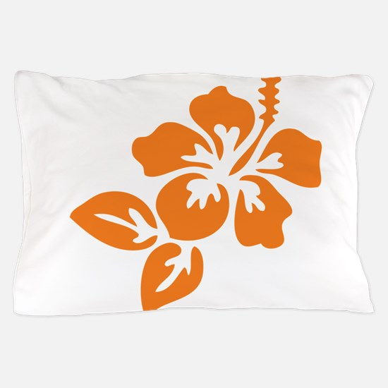 Orange Hibiscus Tropical Hawaii Flower Pillow Case