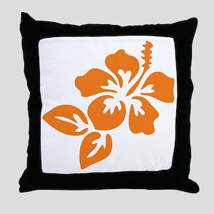 Orange Hibiscus Tropical Hawaii Flowe Throw Pillow