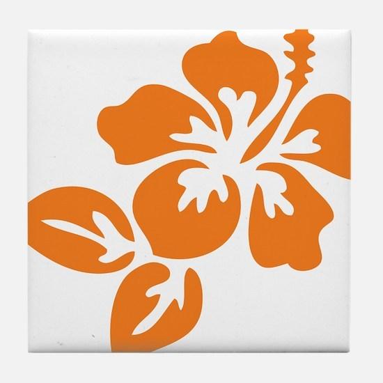 Orange Hibiscus Tropical Hawaii Flowe Tile Coaster