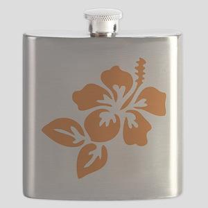 Orange Hibiscus Tropical Hawaii Flower Flask