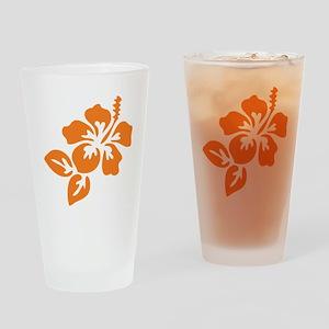 Orange Hibiscus Tropical Hawaii Flo Drinking Glass