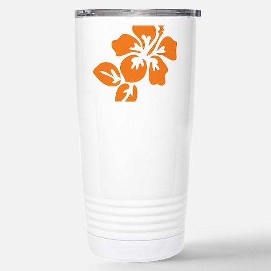 Orange Hibiscus Tropica Stainless Steel Travel Mug