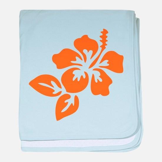 Orange Hibiscus Tropical Hawaii Flowe baby blanket
