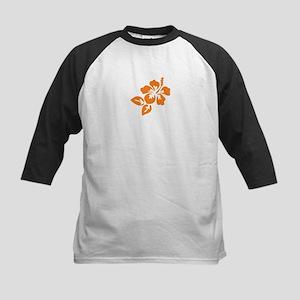 Orange Hibiscus Tropical Hawa Kids Baseball Jersey