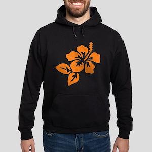 Orange Hibiscus Tropical Hawaii Flow Hoodie (dark)