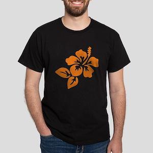 Orange Hibiscus Tropical Hawaii Flowe Dark T-Shirt