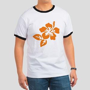 Orange Hibiscus Tropical Hawaii Flower Ringer T