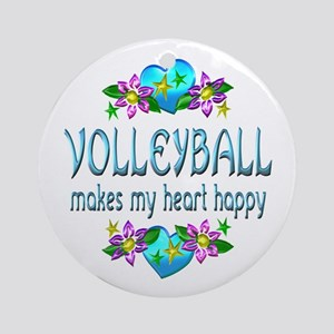 Volleyball Heart Happy Ornament (Round)