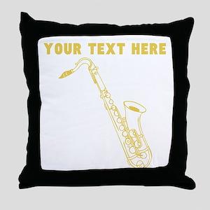 Custom Gold Saxophone Throw Pillow