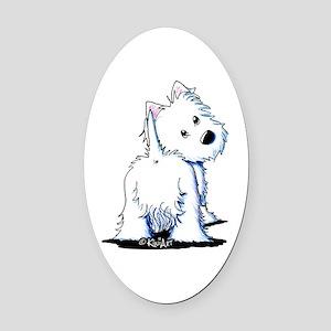 KiniArt Fluffybutt Westie Oval Car Magnet
