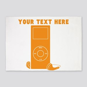 Custom Orange MP3 Player 5'x7'Area Rug