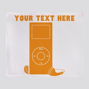 Custom Orange MP3 Player Throw Blanket