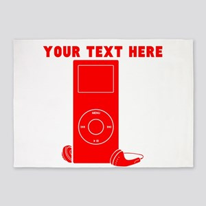 Custom Red MP3 Player 5'x7'Area Rug