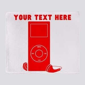 Custom Red MP3 Player Throw Blanket