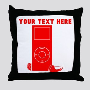 Custom Red MP3 Player Throw Pillow