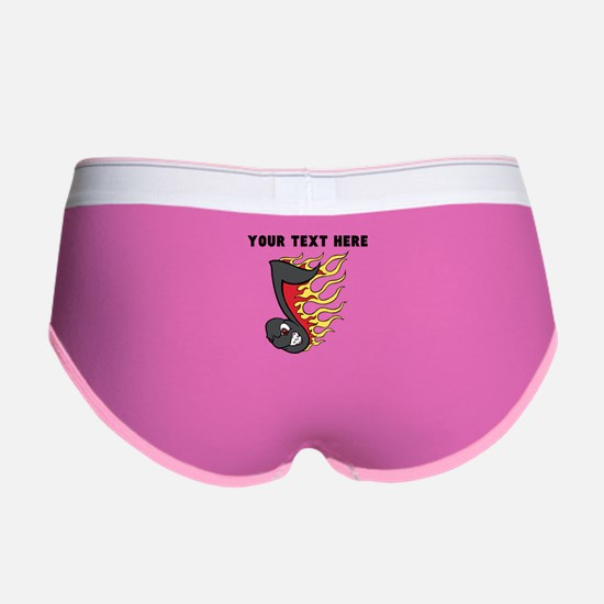 Custom Flaming Music Note Women's Boy Brief