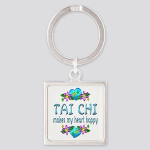 Tai Chi Heart Happy Square Keychain