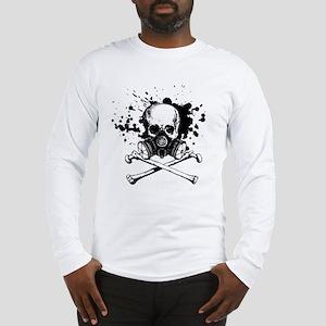 Gas Mask Jolly Roger Black Long Sleeve T-Shirt