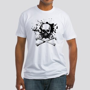 Gas Mask Jolly Roger Black Fitted T-Shirt