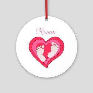 Baby Footprint Heart Ornament (Round)