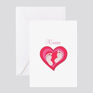 Baby Footprint Heart Greeting Cards