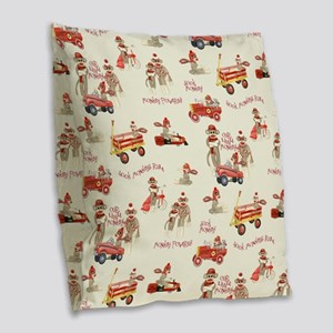 Retro Sock Monkey Pedal Car Fire Truck Boy Burlap
