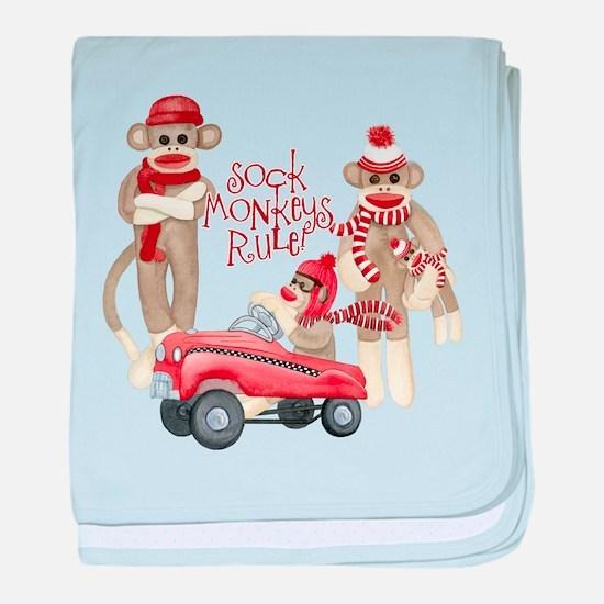 Retro Sock Monkey Pedal Car Monkeys Rule baby blan