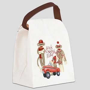 Retro Sock Monkey Pedal Car Monkeys Rule Canvas Lu