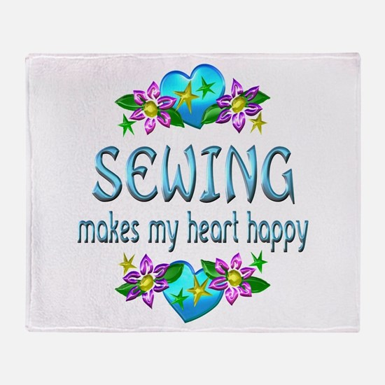 Sewing Heart Happy Throw Blanket