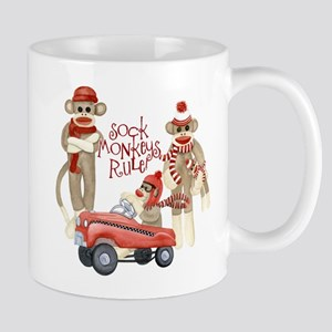 Retro Sock Monkey Pedal Car Monkeys Rule Mugs