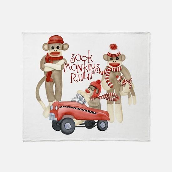 Retro Sock Monkey Pedal Car Monkeys Rule Throw Bla