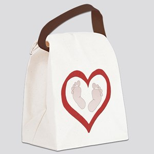 Baby Footprints in Heart Canvas Lunch Bag