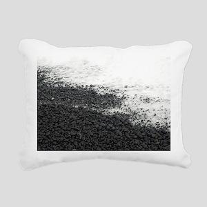 black rock beach Rectangular Canvas Pillow
