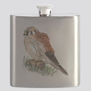 Watercolor Kestrel Falcon Bird Nature Art Flask