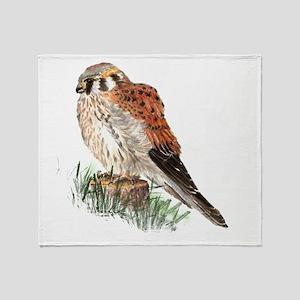Watercolor Kestrel Falcon Bird Nature Art Throw Bl