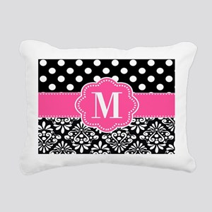 Pink Black Dots Damask Personalized Rectangular Ca