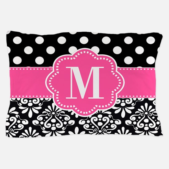Pink Black Dots Damask Personalized Pillow Case