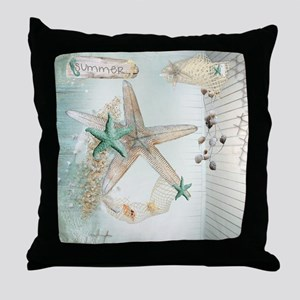 Summer Sea Treasures Beach Throw Pillow