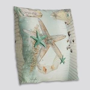 Summer Sea Treasures Beach Burlap Throw Pillow