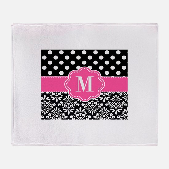 Pink Black Damask Dots Monogram Throw Blanket