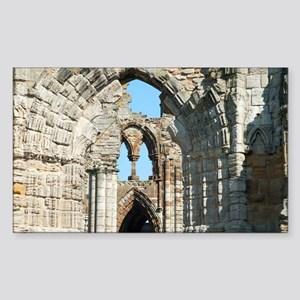 Detail of Whitby Abbey ruins Sticker (Rectangle)
