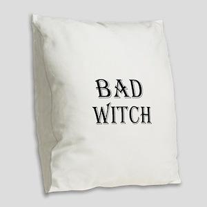 Bad Witch Halloween Burlap Throw Pillow