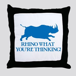 Rhino I Know What You're Thinking Throw Pillow