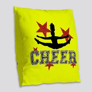 Cheerleader yellow Burlap Throw Pillow